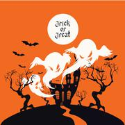 Stock Illustration of Spooky House Trick Or Treat card design