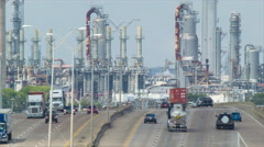 Highway into Deer Park Industrial Area of Houston Texas Close-up Stock Footage