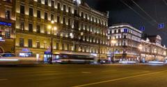 Nevsky Prospect in St.Petersburg, Russia Stock Footage