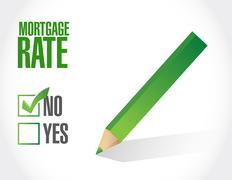 mortgage rate negative sign concept - stock illustration