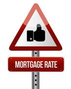 Stock Illustration of mortgage rate like attention sign concept