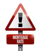 Stock Illustration of mortgage rate warning road sign concept