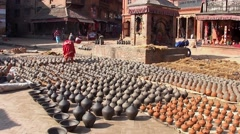 The Potters' Square in Bhaktapur, Nepal Stock Footage