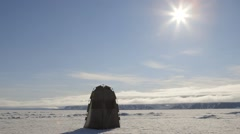 An outhouse tent in a large Arctic ice field. Stock Footage