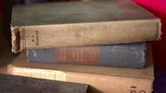 Stack of vintage Books - stock footage