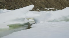 Stream flowing through the snowy Arctic landscape. Stock Footage