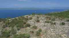 Aerial - Flying above the hill of Adriatic coast - stock footage