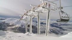 A chairlift at the top of Whistler mountain. Stock Footage