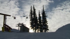 BC, Whistler, Chair Lifts at Sunset - stock footage