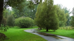 Bike paths going through the Arboretum in Ottawa on a rainy day. Stock Footage