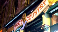 Boot country store sign in Nashville. Stock Footage