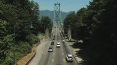 Entrance to the Lions Gate Bridge, Vancouver. Stock Footage