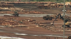 Logging mill in a British Columbian valley. Stock Footage