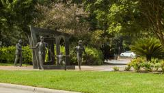 Hermann Park Houston Tx Cancer Survivors Plaza Monument Stock Footage