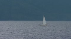 Sailboat in a British Columbia cove. Stock Footage