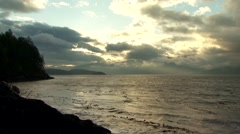 Pacific Ocean landscape at sunset off the coast of British Columbia. Stock Footage