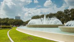Mecom Fountain Hermann Park Houston Texas Panning Traffic Stock Footage