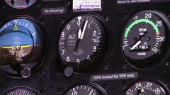 An altitude meter spins in plane cockpit. Stock Footage