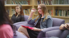 Students listening and asking questions in class Stock Footage