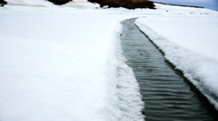 Crack in an Arctic ice field. (Jib) Stock Footage