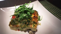 Open faced omelette is displayed on a plate. Stock Footage