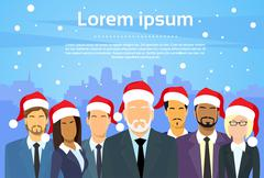 Senior Businessmen Boss with Group of Business People New Year Christmas Hat - stock illustration