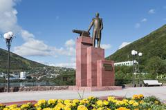 Monument to first Military Governor of Kamchatka V. S. Zavoiko. Kamchatka - stock photo