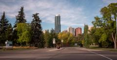 Hyperlapse of buildings & entrance to Victoria golf course in Edmonton, Canada Stock Footage