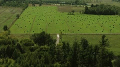 Farmers field with hay bales. Stock Footage