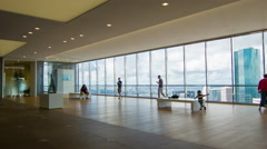 People in JPMorgan Chase Tower Observation Deck Sky Lounge Stock Footage