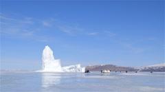 A large iceberg on sea-ice near Admiralty Inlet. - stock footage