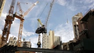 Stock Video Footage of Cranes on 57th Street