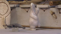 Carving on display at an Inuit Art Exhibition in Arctic Bay, Nunavut. Stock Footage