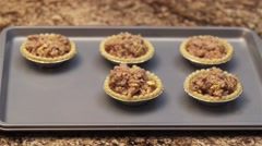 Chicken tarts on a tray ready to be baked. Stock Footage