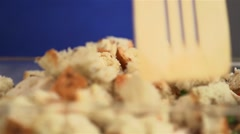 Chicken bread pudding being mixed before cooking. Stock Footage