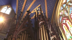 Pipes of the organ in Notre Dame Cathedral in Ottawa. Stock Footage