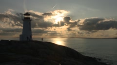 Lighthouse at Peggys Cove, Nova Scotia. Stock Footage