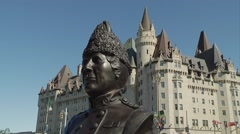 Georgina Pope statue outside of the Chateau Laurier in Ottawa, Ontario. Stock Footage