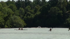Group of kayakers peddling through the Ottawa River. Stock Footage
