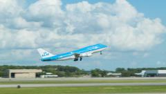 KLM Boeing 747 Taking Off from Houston IAH Stock Footage