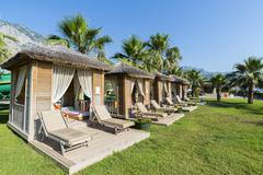 Traditional summerhouse on  tropical resort Stock Photos