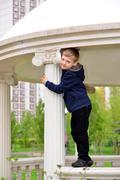 Six year old boy on a walk Stock Photos