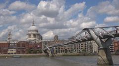 Famous Millennium Bridge footbridge St Pauls cathedral London cityscape day icon Stock Footage