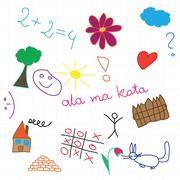 children drawing multicolored symbols set - stock illustration