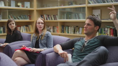 Students listen and participate in a class discussion Stock Footage
