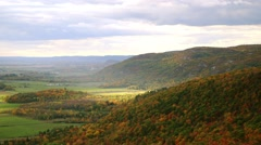 View of the Gatineau Hills from Champlain Lookout. (Pan) Stock Footage