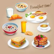 Stock Illustration of Brekfast time realistic pictograms poster