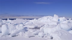 Pack ice on the edge of a lead in the arctic. (Pan Right) - stock footage