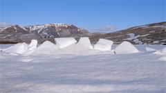 Pack ice formed along the edge of a lead in sea-ice near Arctic Bay. Stock Footage