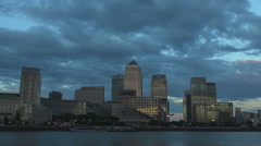 Amazing Canary Wharf business center London financial modern building twilight   Stock Footage